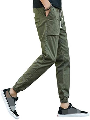 Candiyer メンズポケットプラスサイズ弾性ウエストピュアカラー巾着ラウンジスウェットパンツ