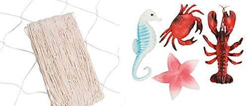 - SET - 14 x 4 Foot Natural Color FISH Net and 4 Sea Creatures- LUAU NAUTICAL PARTY DECOR CLAM BAKE BEACH theme decorations include a Lobster, Crab, Seahorse and Starfish