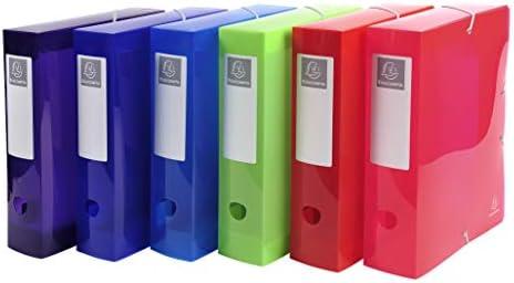 Exacompta 59680E Packung (mit 6 Archivboxen Iderama PP, 24 x 32 cm, ideal für Ihre Dokumente in Format DIN A4, Rücken 80mm) farbig sortiert, 6 Stück
