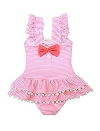 Happy Cherry Girls One-Piece Swimsuits Ruffle Swimwear Beach Bathing Suit