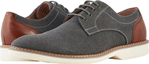 Florsheim Mens Union Plain Toe Oxford Charcoal Canvas/Cognac Smooth from china low shipping fee tumblr online outlet best wholesale outlet locations online SabjX