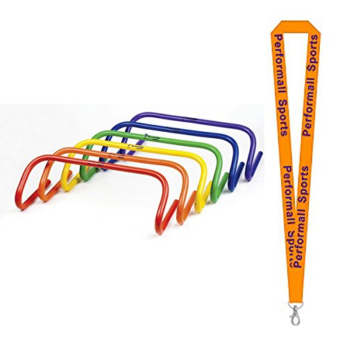 Champion Sports 6'' Speed Hurdle Set Assorted (Set of 6) Bundle with 1 Performall Lanyard PH66SET-1P by Champion Sports