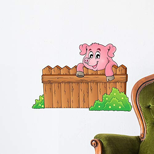 Wallmonkeys Pig Theme Image 3 Wall Decal Peel and Stick Animal Graphics (24 in W x 18 in H) WM119438