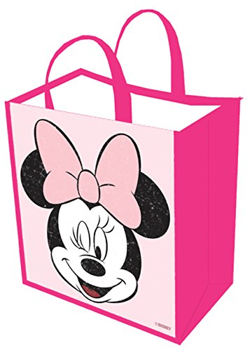 Disney: Minnie Mouse Girls Vintage Pink Tote Bag Grocery Bags Reusable Foldable Shopping Bag, Eco - Birthday 1st Bag Tote