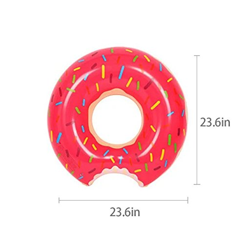 Spring Summer New Float 60/70/80/90/100/120Cm Inflatable Adult Swim Ring Thickened Strawberry Donuts Chocolate Flotador Donut Lifebuoys,For Unisex Kids And Adults(SS)