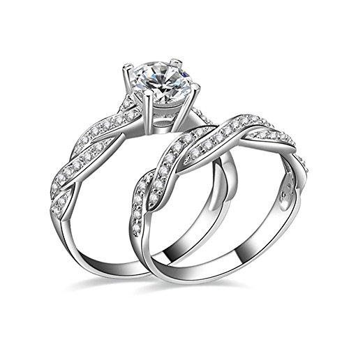 JunXin Round Cut 1.5ct Swarovski Crystal White Gold Bridal Set Engagement Rings Wedding Band Size10 (Wedding Band Set White Gold)