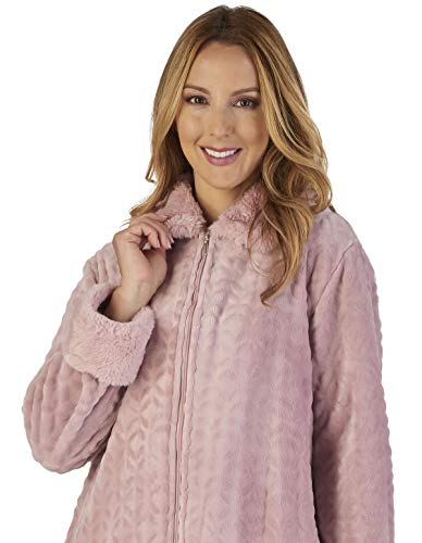 Robe Gown Collar Bath Pink Dressing Loungewear Faux Slenderella Women's HC2342 IUZqp