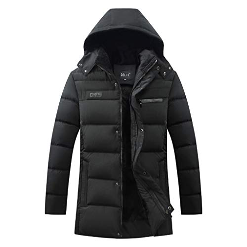 Lakes Park Halloween Train 2019 (FEDULK Mens Winter Warm Parka Coat Hooded Jacket Tracksuit Casual Long Sleeve Outwear Overcoat Outerwear(Black,)