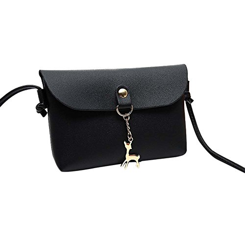 Clearance! ZOMUSA Women Girls Fashion Small Deer Pendant Handbag Shoulder Tote Mini Cellphone Pouch Purse Wallet (Black)