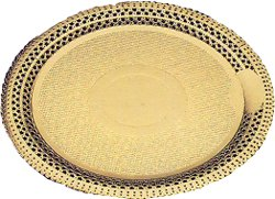 Novacart Round Gold Lace Cake Board Doily 10 1/4'' Inner Diameter, 11 3/4'' Outer Dia. - Case of 100