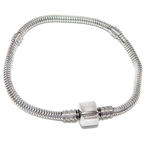 Pro Jewelry Stainless Steel Starter Charm Bracelet Barrel Snap Clasp (Available All Size) (7.5 Inches)
