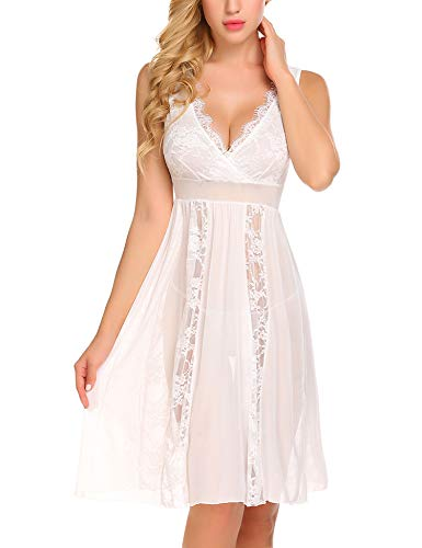 Avidlove Lingerie Nightgowns Sexy Wedding Nighty for Bride Sheer Negligee Long Lace Chemise White L