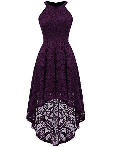 Dressystar 0028 Halter Floral Lace Cocktail Party Dress Hi-Lo Bridesmaid Dress L - Purple Wedding Dress Guest