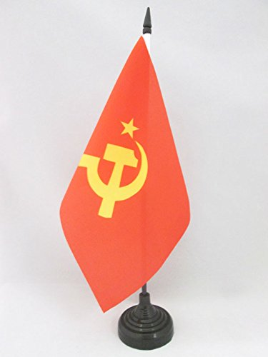 AZ FLAG USSR Central Logo Table Flag 5'' x 8'' - Red Communist Desk Flag 21 x 14 cm - Black Plastic Stick and Base