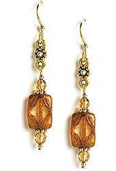 Jody Coyote Earrings GD665G-02 Caravan Collection gold bead dangle
