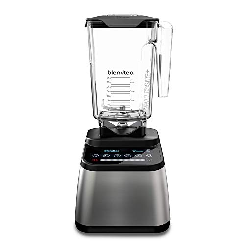 Blendtec Designer 725 Blender - WildSide+ Jar (90 oz) - Professional-Grade Power - Self-Cleaning 6 Pre-Programmed Cycles-100-Speeds-Sleek and Slim, Stainless Steel, /Black