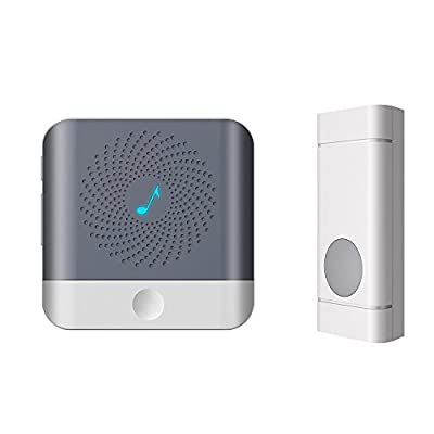 Hotec Wireless Doorbell Wireless Door Chime, with Operating Range 1000 Feet and 52 Chimes 4 level Adjustable Volume, LED Flash
