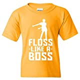Floss Like A Boss - Back Pack Kid Flossin Dance Funny Emote Youth T Shirt - Large - Gold