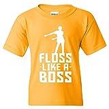 Floss Like A Boss - Back Pack Kid Flossin Dance Funny Emote Youth T Shirt - Medium - Gold