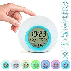 Jeteven Kids Alarm Clock Digital for Student Boys Girls 7 Colors Changing Light Bedside Children's Bedroom Indoor Temperature Touch Control Snoozing (Blue)