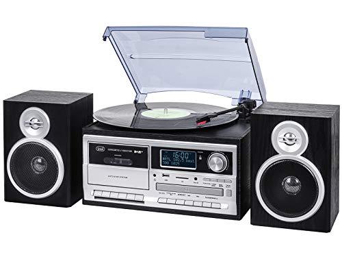 Trevi TT 1072 DAB stereo-bluetooth-platenspeler met digitale DAB/DAB+-ontvanger, encoding-functie, MP3-speler, CD, USB…