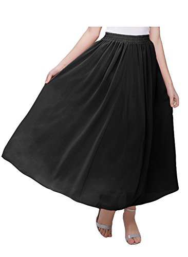 Black Chiffon A-line (Kileyi Women's Long A Line High Elastic Waist Swing Chiffon Pleated Midi Skirt Black XXL)
