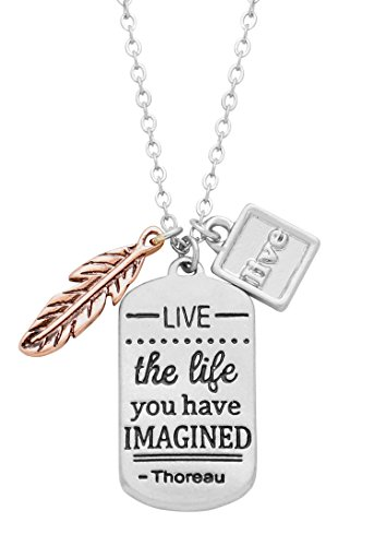 """Rosemarie Collections Women's Dog Tag Charm Pendant Necklace """"Live The Life You Have Imagined"""""""