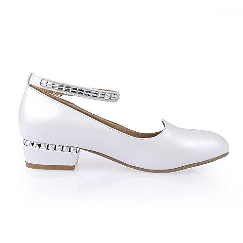 balamasa Diamant Femme pumps Round En heels Verre Toe shoes Boucle Givré Blanc low 4AqwZA