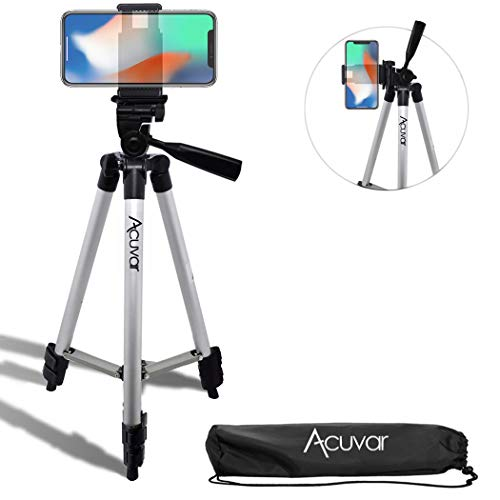 """Acuvar 50"""" Inch Aluminum Camera Tripod + Universal Smartphone Mount for iPhone Xs, Max, Xr, X, 8, 8+, Pixel 3, XL, Android Note 9, S10, S10+ & More Smartphones"""