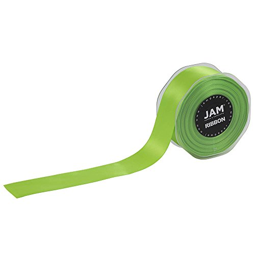 JAM PAPER Double Faced Satin Ribbon - 1 1/2 Inch Wide x 25 Yards - Lime Green - Sold ()