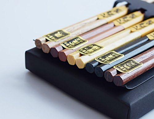 3 Sets Ecloud Shop/® 15 Pairs Japanese Natural Beech Wood Chopsticks Chinese Set Handmade Gift Pack Set of 5 pairs