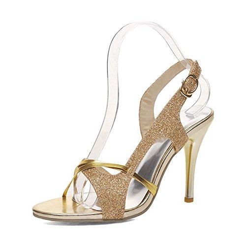Buckle Sequins Gold Open Stilettos Solid WeenFashion Sandals Toe Heeled Women's Spikes E5qUUR