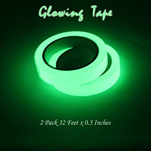 Shoppy Glow in the Dark Tape Bright Luminous Sticker Tape Long Lasting Photoluminescent Non Residue Adhesive Backing - 2 PCS 32 Feet x 0.5 Inches (The In Tape Glow Dark 2)
