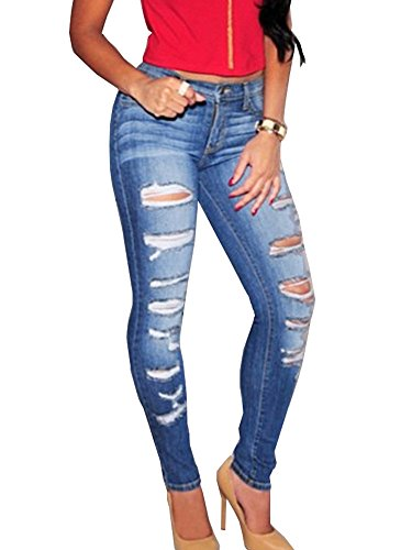 OLRAIN Womens Long Jeans Destroyed Ripped Hole Trousers Denim Pants