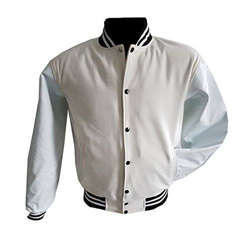 Original Jacke XL Echtleder Windhound weißen weiß mit Ärmel College r1rCPq