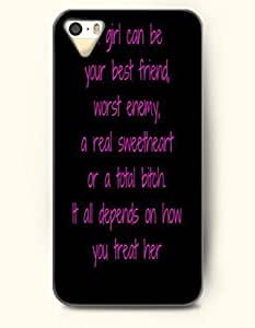 For HTC One M7 Phone Case Cover Hard with Design A Girl Can Be Your Best Friend, Worst Enemy, A Real Sweetheart Or A A Total Bitch. It All Depends On How You Treat Here- About Friends - For HTC One M7 Phone Case Cover