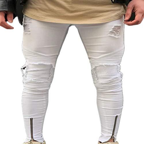 Jeans Da Uomo Lavati Con Stropicciatura Color Ruggine Decorazione Chiusura Dritta Classiche Pantaloni In Denim Casual Fori Strappati A Matita Stretch Ragazzi 1839