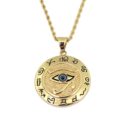 """Luxury Defined Large Eye of Horus Mythical Pendant in Stainless Steel Layered in Rich 14k Gold with an 24"""" Gold Plated Stainless Steel Chain"""
