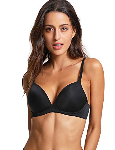 Bra Lightly T-shirt Lined (DOBREVA Women's Lightly Lined T-Shirt Non-Wired Bra Plunge Black 38B)