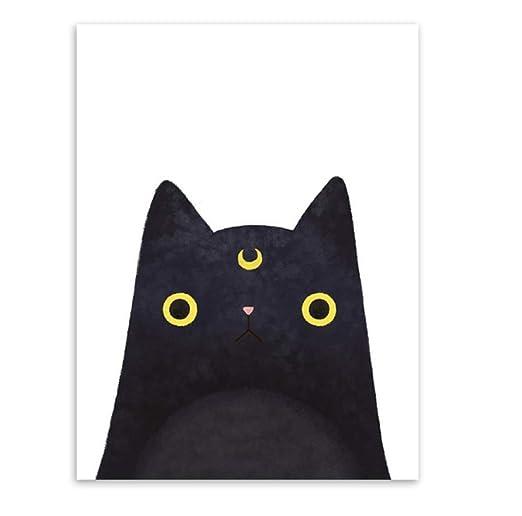 Póster decoración Acuarela moderna Hermosa cara de gato Impresión ...