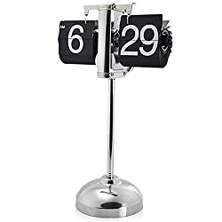 niceeshop(TM) Vintage Retro Internal Gear Operated Flip Down Clock Desktop Clock For Home Decor,Black