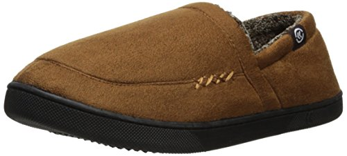 Isotoner Mens Microsuede A-Line Slip-On Slipper with Plush Tweed Lining Cognac