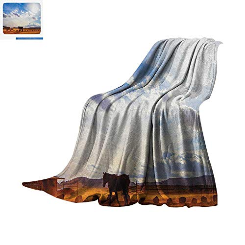 Western Throw Blanket Horse in Monument Valley Open Sky with Clouds in Arizona America Landscape Print Print Artwork Image 60