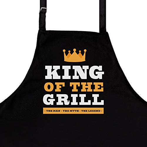 StarGifts BBQ Funny Aprons for Men | King of The Grill | One Size Fits All Man | Kitchen Apron for Men | Ideal BBQ Accessories Man BBQ Apron (Bbq King Apron)