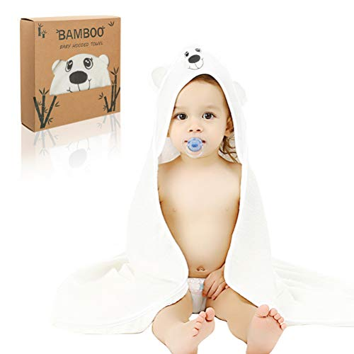 Baby Bath Towel Hooded, 100% Bamboo Fiber Soft Kids Washcloth with Ears for Baby Shower, 35X35