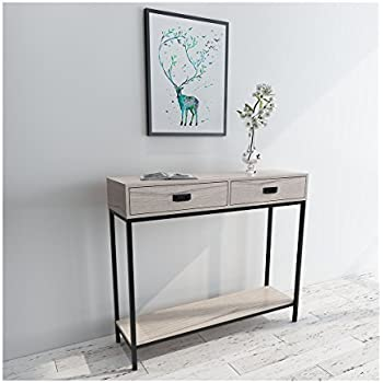 Roomfitters 2 Drawer Console Table Low Display Shelf Rectangle Modern Oak  Entryway Table,2