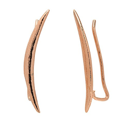 Moon Crawler Cuff Earrings - 925 Sterling Silver with 18K Rose Gold Plating