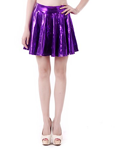 Women's Casual Fashion Flared Pleated A-Line Circle Skater Skirt (Purple, Large) for $<!--$8.00-->