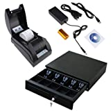 2xhome - Usb POS Thermal Receipt Printer Point of Sale 16'' Cash Drawer Register Heavy Duty Key-lock 5 Bills and 5 Coin Black Combo Set for Window Win 8 7 Xp