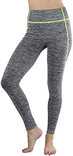 Sportoli Womens Active Performance Athletic Compression Fit Yoga Pants Leggings - Heather Grey/Neon Yellow Stitching (Small/Medium) (Seersucker Wide Leg Pants)